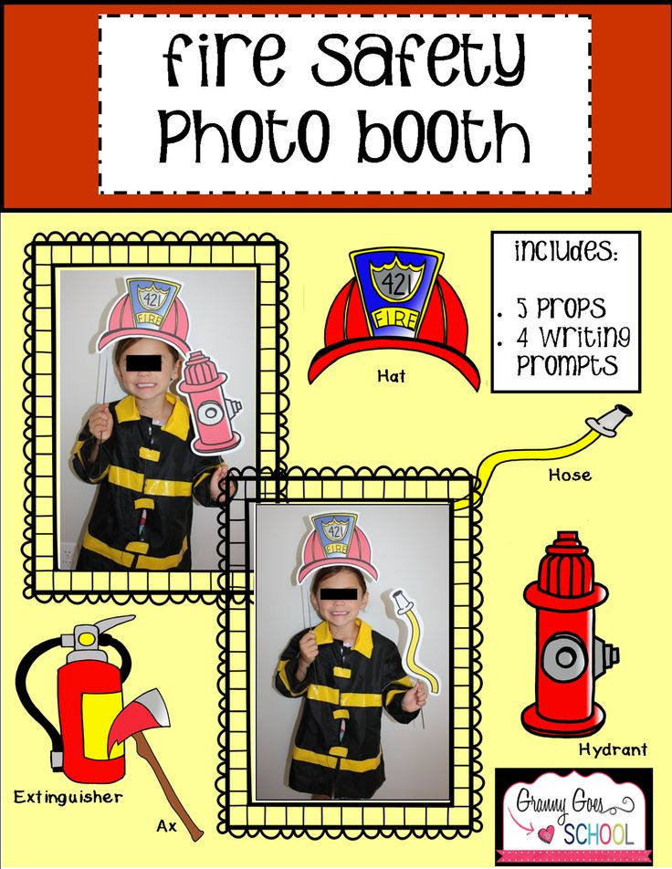 Fire Safety Week Photo Booth Props and Writing Prompts