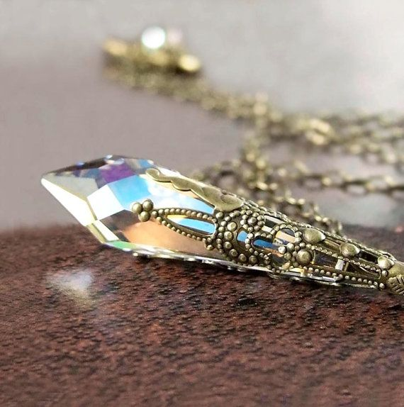 Clear Crystal Necklace Antique Gold Brass Chain by DorotaJewelry