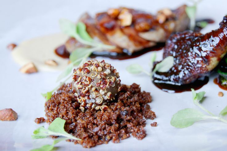 Fiesole pigeon: Breast, port-glazed thigh, liver and quinoa ball, chestnuts, and spinach from Borgo Santo Pietro.