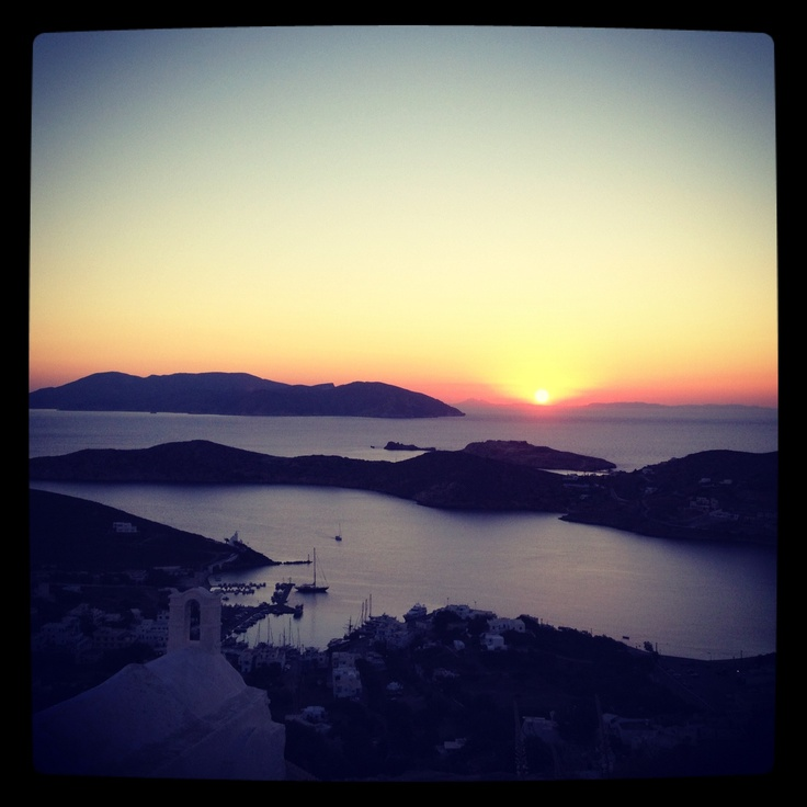 Greek Islands Ios sunset from the top church... Bliss...