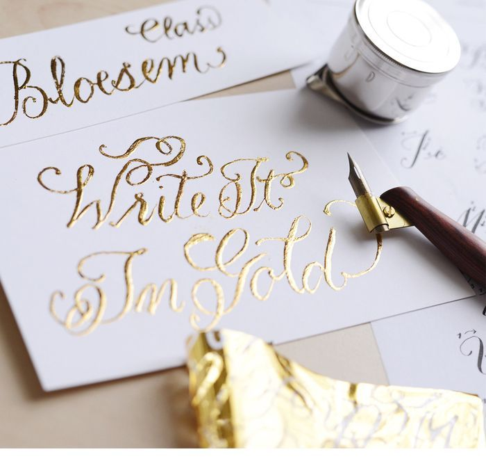 Bloesem class alert gold foiling calligraphy for
