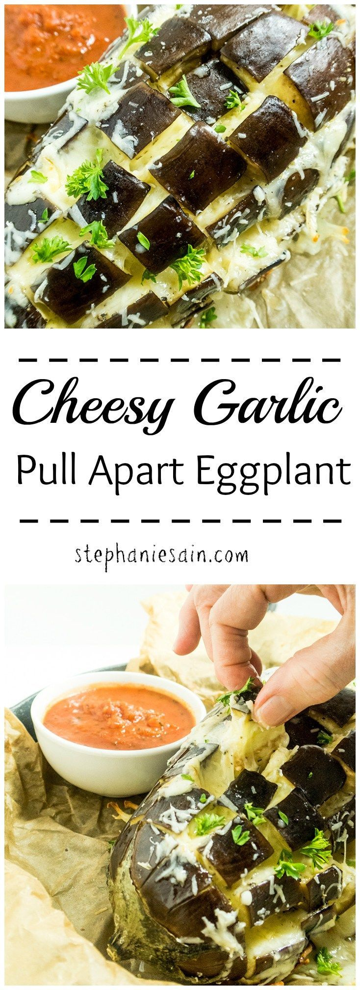 Cheesy Garlic Pull Apart Eggplant is an easy to prepare tasty appetizer or main course option. Low in carbs, vegetarian, and gluten free.