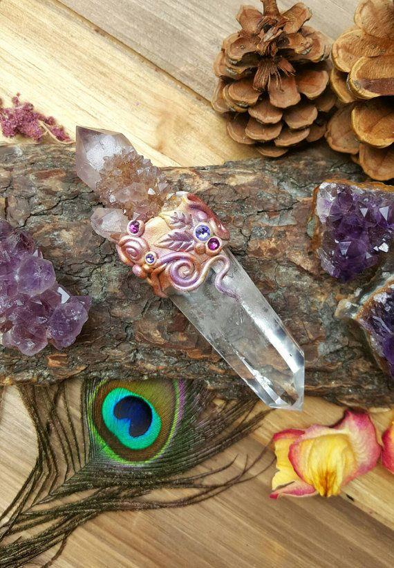 Ametrine Crystal Wand Quartz heks altaar Tool heidense Wicca heiligdom Clay edelsteen