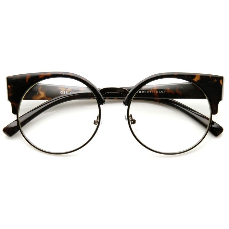 - Description - Measurements - Shipping - Unique round half frame that features high pointed temples creating an elegant cat eye silhouette. Frame is made with an acetate brow and arms, metal wire len