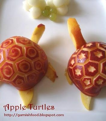 how to make turtle of apple from garnishfood.blogspot.com