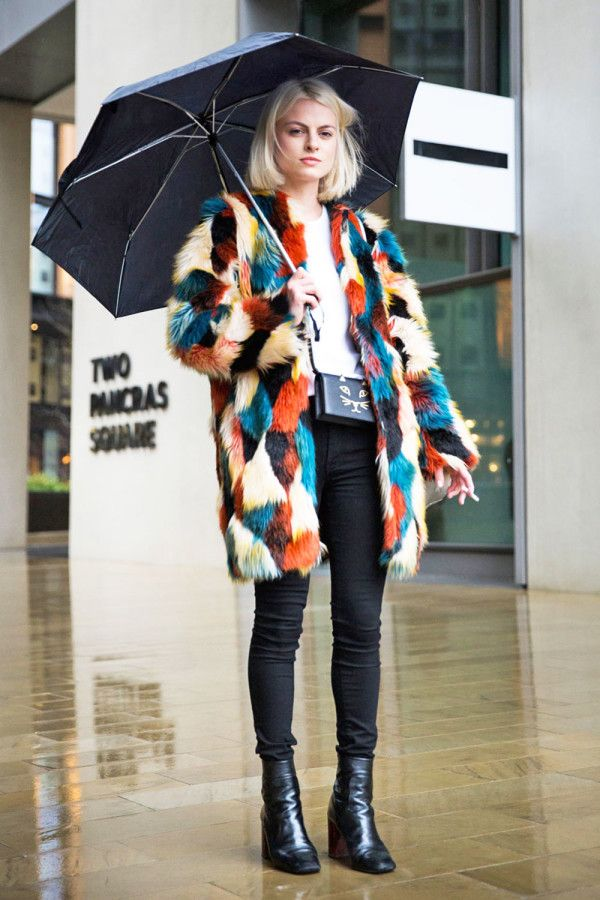 A patchwork faux fur jacket is worn with a white tee, black skinny jeans, and booties