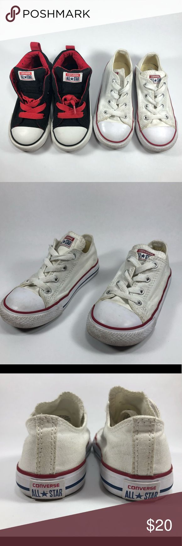Converse Shoes Two Pairs Kids Size 9 Fair Condition Normal Wear Including Scuffing See Pictures For Details. Converse Shoes Two Pairs Size Kids Sz 9. Cream & Red Shoe. Black And Red Shoe Converse Shoes Baby & Walker