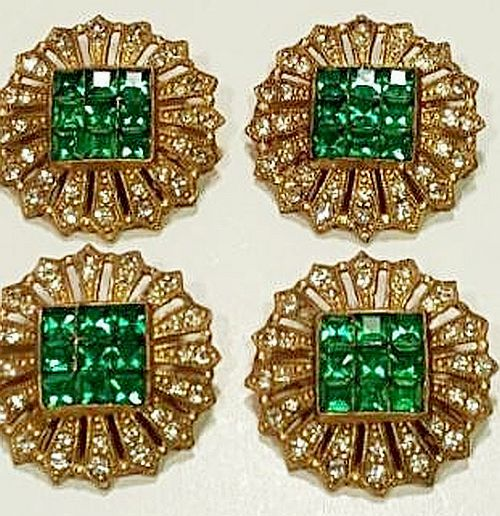 Round Green & Clear Rhinestone Buttons Early 1900s.