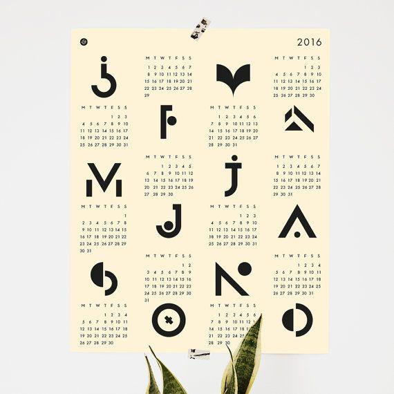 Calendar poster 40 x 50 cm geometric light yellow by messproject calendar 2016