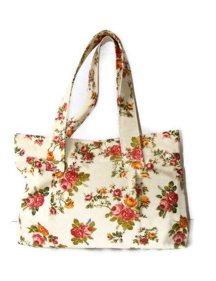 SALE Hobo Tote Bag orangepink and green Floral shoulder by seno, $40.00