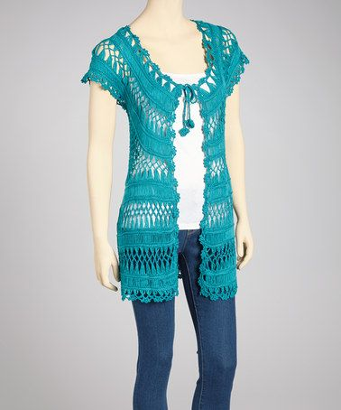 Take a look at this Teal Blue Crocheted Open Cardigan by SR Fashions on #zulily today!