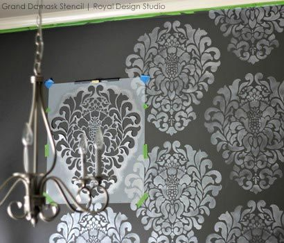 Stenciled Dining Room Accent Wall - DIY Elegant Black and White Dining Room Makeover | Grand Damask Stencil by Royal Design Studio