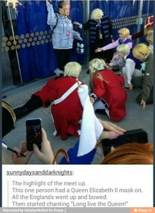 Hetalia Cosplay England Queen Elizabeth II omg you can see Italy's curl in the bottom of the pic