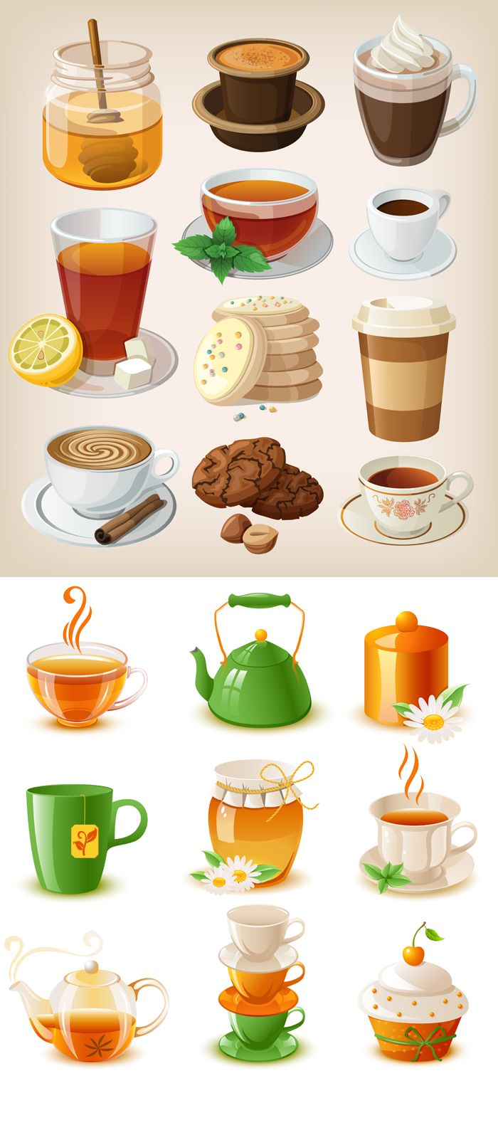 cartoon vector food drinks clipart drink material foods fruit coffee illustration drinkware beverages drawing clip illustrations cute myfreephotoshop mode cartoons