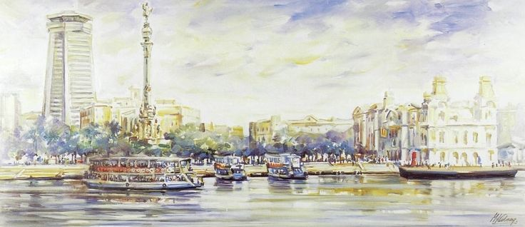 Las Golondrinas (Barcelona) oil/canvas 50x100