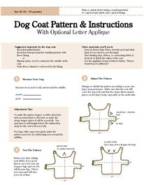 Dog Coat Pattern Instructions With Optional Letter Applique