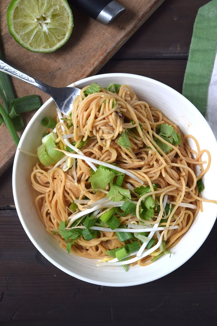 A Thai noodle bowl that's healthy, delicious, and takes only 10 minutes from start to finish. It's super satisfying and much easier than going out.
