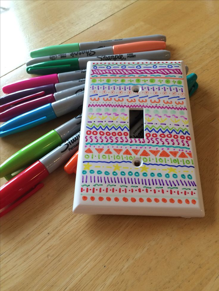 Draw on light switch covers with sharpies - Ideas In Crafting
