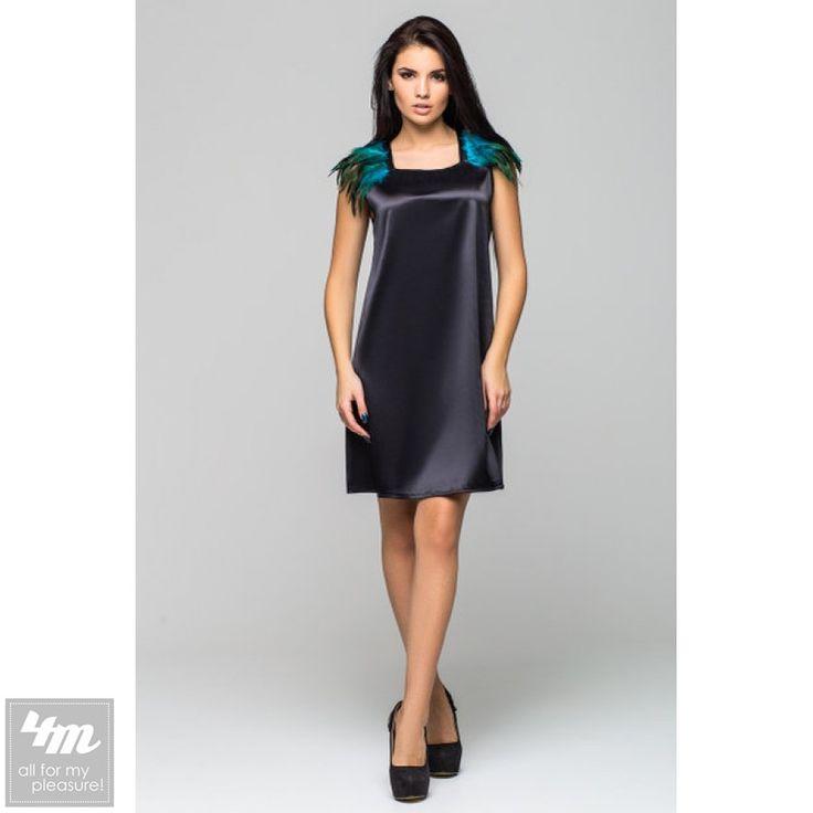 """Платье Leo Pride «Паулина PP 1026» (Черный, зеленый перья) http://lnk.al/3smH  Платье """"Паулина"""" из атласа, из новогодней коллекции."""