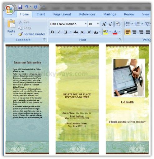 how to make a trifold brochure on microsoft word