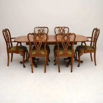 This antique dining room set is of high quality, in good original condition & dates from around the 1920's period. It was made by the famous London cabinet makers Epstein & is hand made. The table top & parts of the chairs are burr maple, while the rest is solid walnut. It has a wonderful mellow colour & the patterns of the veneers are lovely. While the condition looks very good in the images, we are still about to re-polish the chairs, so they will be vastly improved. We will leave the…