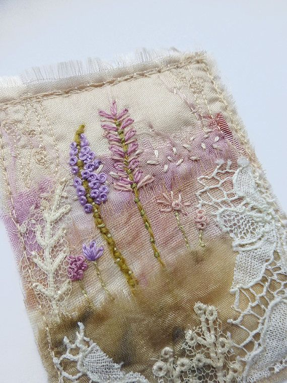 vintage garden card, textile greeting card, handmade card, embroidered card, flower card, flowers and lace, stitched card, textile art card A stitched greeting card made with eco dyed silk, antique lace and tiny stitches. 'Vintage garden' is a hand stitched mini layered textile art. Silk dyed with roses, blush silk ribbon, tulle dyed with leaves. Wild garden flowers - purples, pinks, mixed green shade thin stems. I have added five antique lace scrap pieces for some history. Lace is approx...