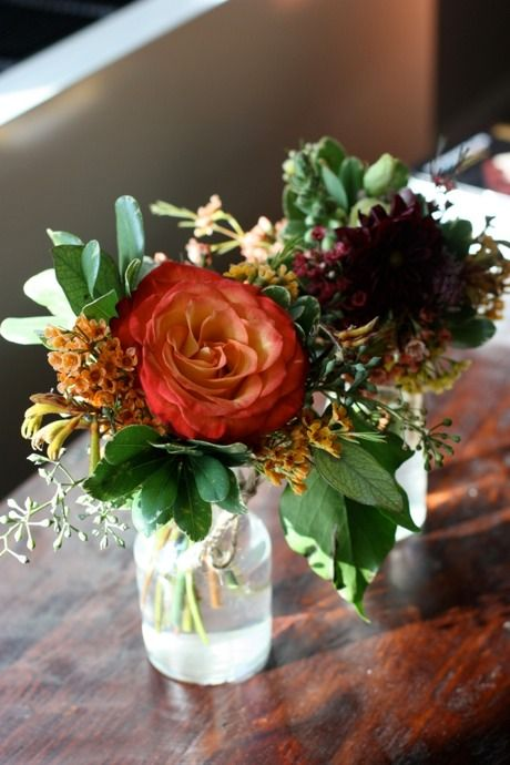 *smaller bouquets on tables...one big flower with greenery and little flowers*