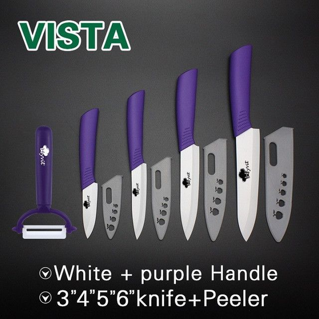"Ceramic Knives Multi-color Handle Kitchen 3"" 4"" 5"" 6"" vista kitchen knives cooking set white blade with sheath zirconia"