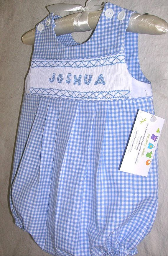 Smocked Personalized Bubble Gingham 6 Mos To 24 By