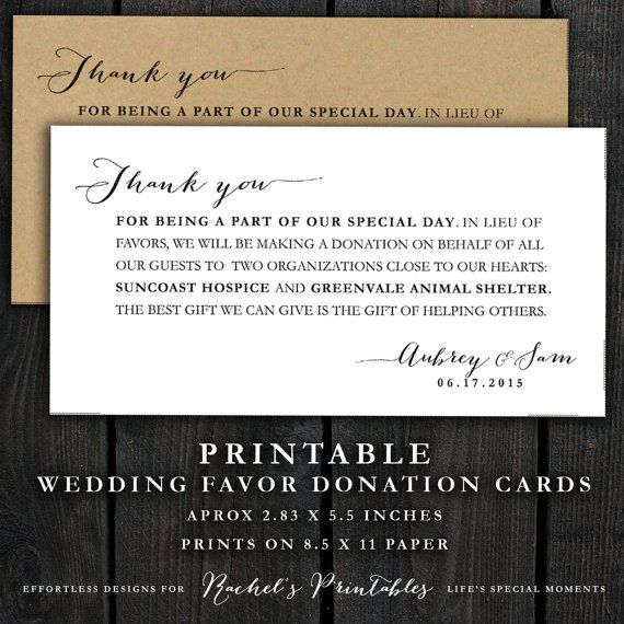 Wedding Donation Favor Cards, Wedding Thank You Note, donations ...