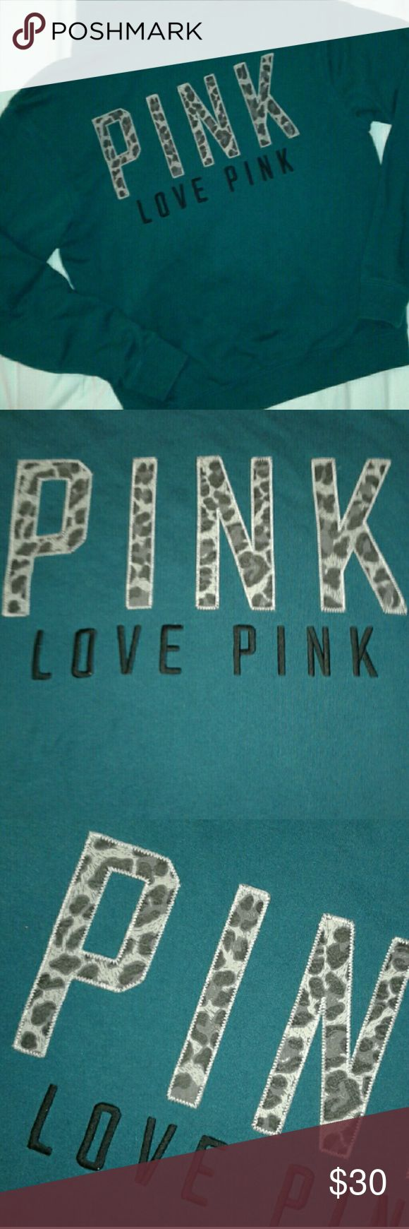 Victoria's Secret Pink VS Pink quarter zip pullover. Great preloved condition free of any flaws, defects or excessive signs of wear/use. Front has Pink puppy logo embroidered at left chest. Back has 'LOVE PINK' embroidered underneath 'PINK' logo in cheetah patterned letters. PINK Victoria's Secret Tops Sweatshirts & Hoodies