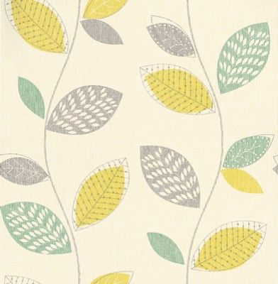 Albany Collage (201065) - Albany Wallpapers - A fresh floral stylised leaf trail with metallic silver highlights. Showing in lime green and teal blue on a cream background - more colours are available. Please request a sample for true colour match.