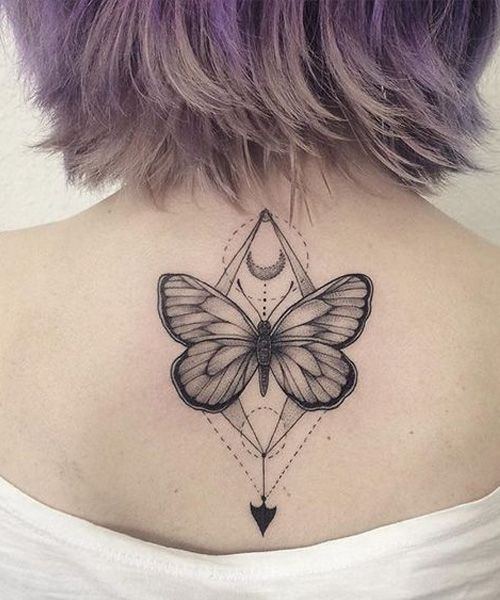 Lovely Geometric Butterfly Tatto Design on Back for Women