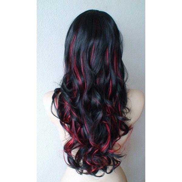 Anniversary Special :)) Black /Red highlighted wig. Long Curly hair... ($88) ❤ liked on Polyvore