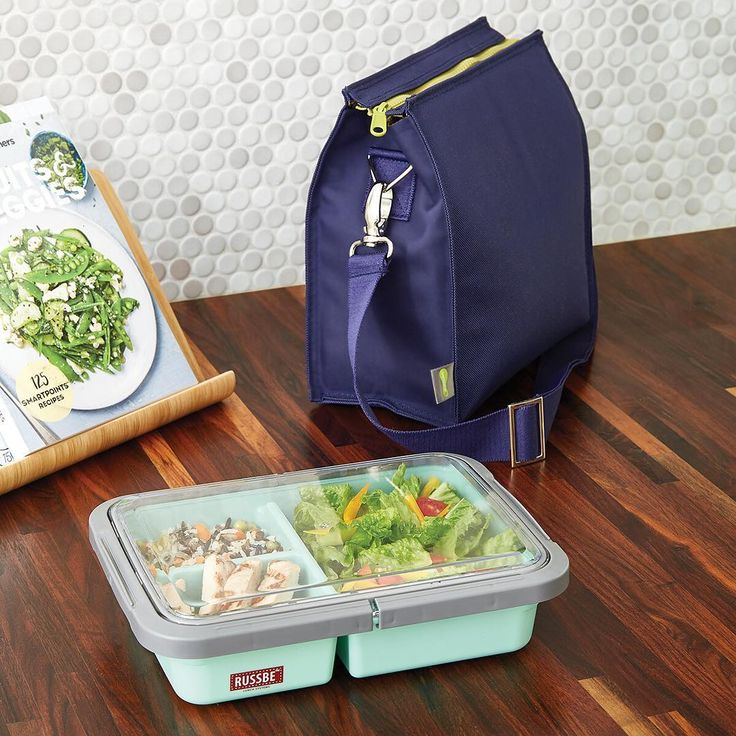 A modern take on the to-go box. #bpafree #foodstorage #organization #letsgetorganized   Products Shown:  3-Compartment Lunch Bento Box & Navy Insulated Lunch Tote
