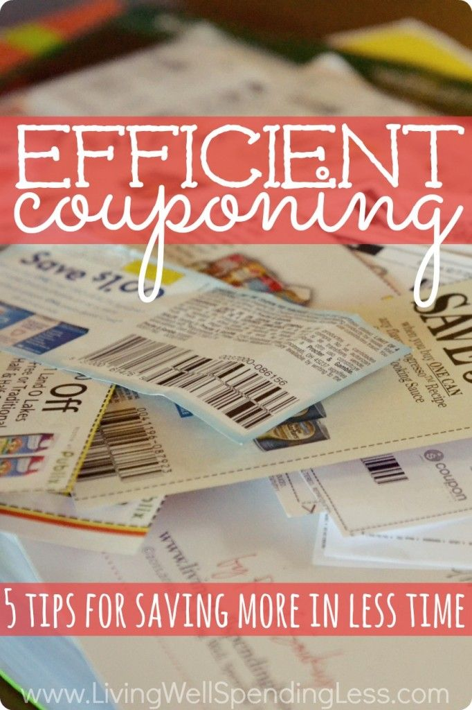 Efficient Couponing. Want to save money on groceries but don't have hours to spend clipping coupons each week?  Don't miss these 5 expert tips for saving more money in less time! #informative