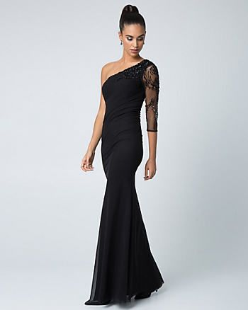 Beaded Mesh & Knit One Shoulder Gown, Le Château, Kingsway Mall