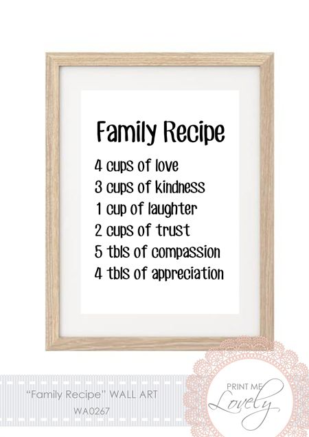 """""""FAMILY RECIPE"""" Wall Print A4 Cardstock 
