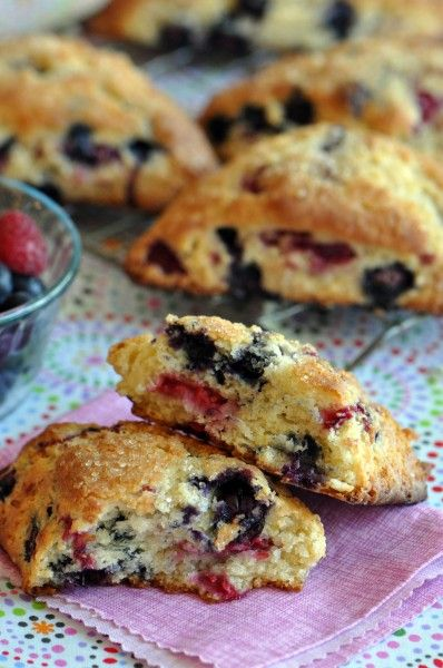 """Blueberry Raspberry Scones - """"Flakey, buttery scone oozing with blueberry and raspberry fruitiness."""""""