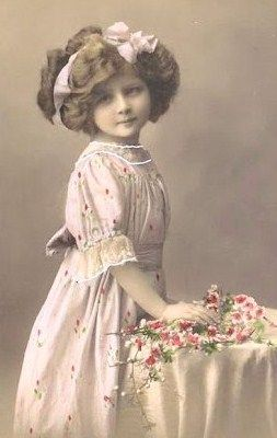 Vintage photo of a young girl, colorized.