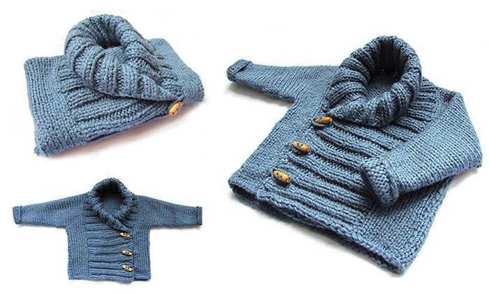 Una chaqueta de bebé a dos agujas (A baby sweater on 2 needles) - Spanish tutorial for this sweater: http://www.ravelry.com/patterns/library/ribbed-baby-jacket (original pattern in English)