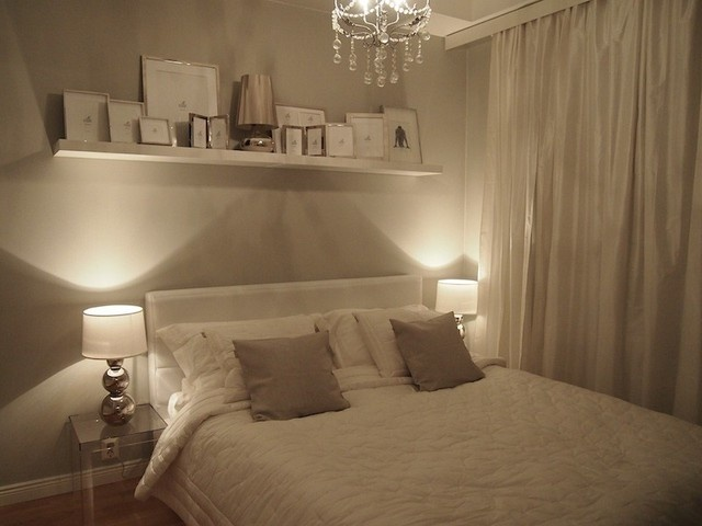 Calming bedroom love the colours and the picture shelf! Nice lighting too.