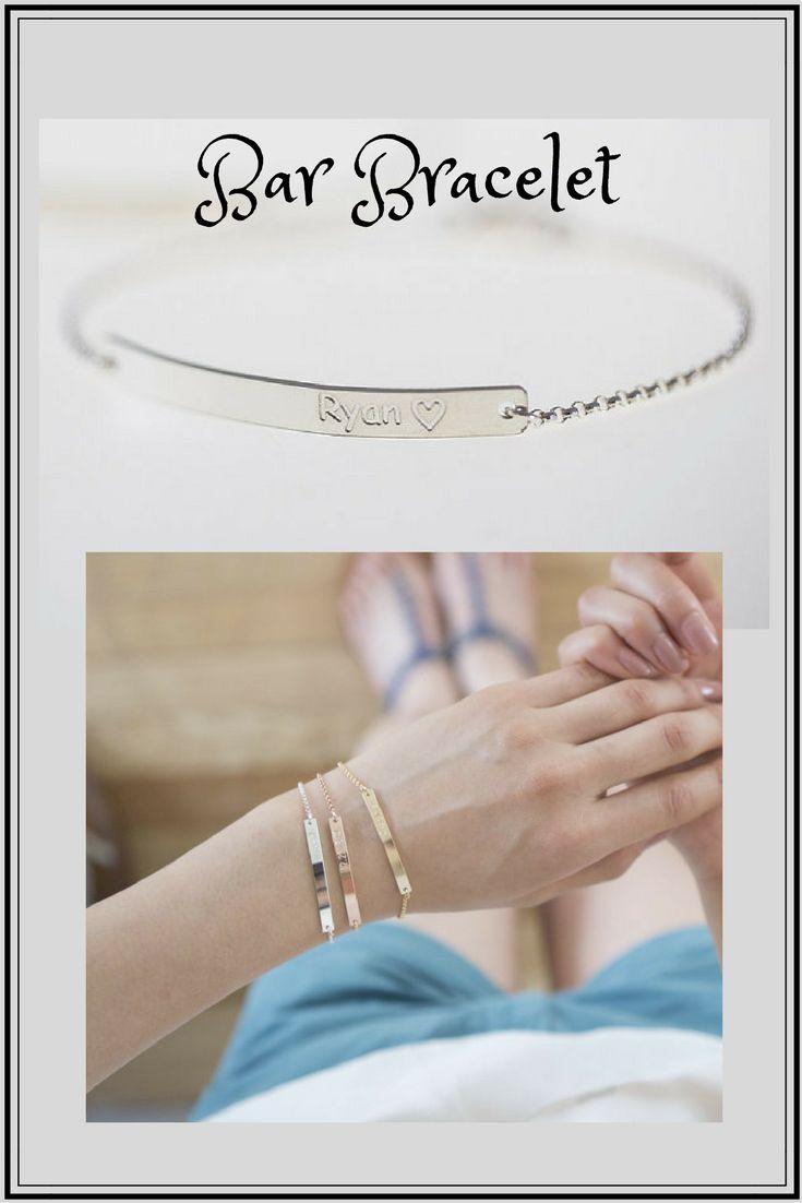 Sterling Silver Bar Bracelet, Engraved Bracelet, Personalized Bracelet, Custom name Bracelet,Monogram Bracelet,Initial Bracelet  #affiliate #BarBracelet