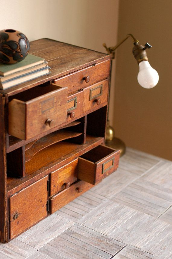 Vintage Library Card Catalog Desktop Cabinet