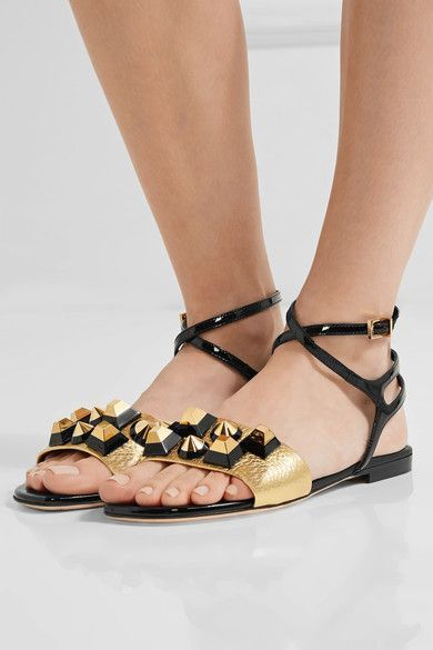 Heel measures approximately 10mm/ 0.5 inches Gold textured-leather, black patent-leather Buckle-fastening ankle strap Made in ItalySmall to size. See Size & Fit notes.