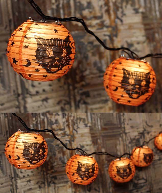 "The Vintage Halloween Store: Bethany Lowe Fraidy Cat Lights New from Bethany Lowe - fraidy cat light set. Size: 10 feet long and 4"" diameter lanterns. Light string has 10 tissue/metal lanterns."