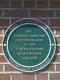 The convent is near the site of the Tyburn Tree, the public gallows where more than 100 Catholic martyrs were executed. http://www.lmschairman.org/2010/07/tyburn-convent.html