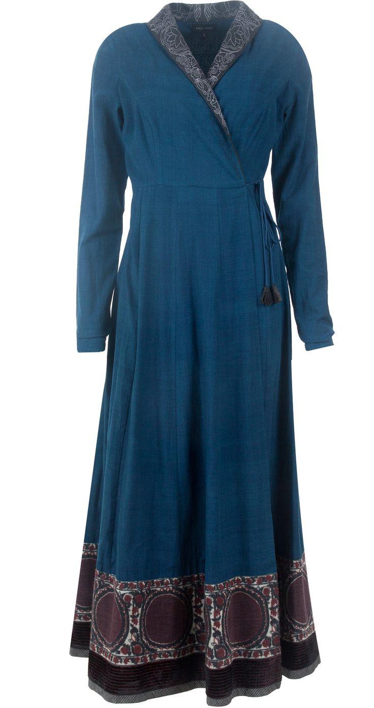 Indigo blue khadi angrakha style overlap dress by ANJU MODI. Shop at http://www.perniaspopupshop.com/designers-1/anju-modi/anju-modi