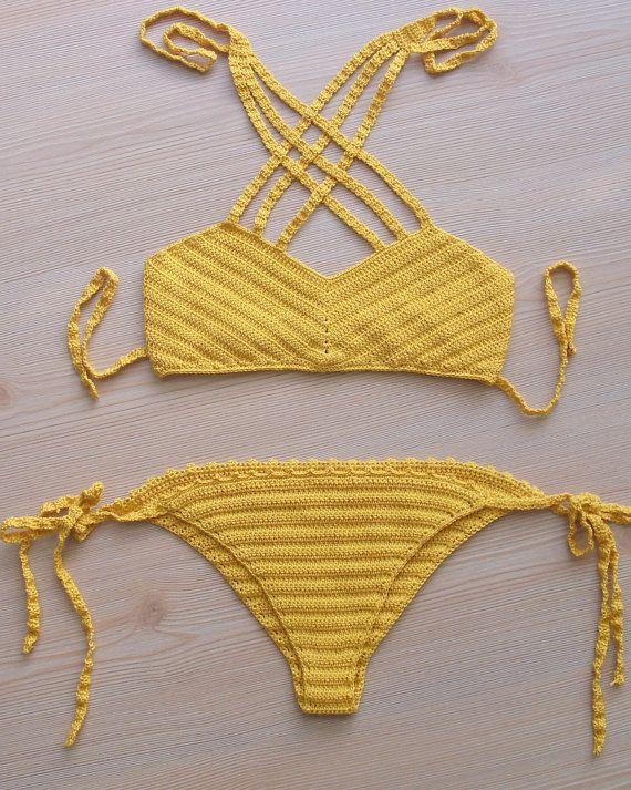 EXPRESS CARGO!!! Yellow crochet bikini, women bikini swimwear, women swimsuit…