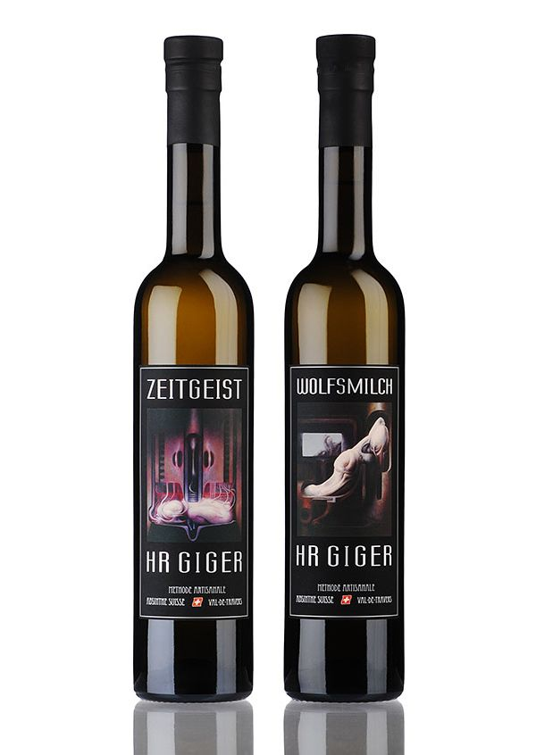 Limited HR Giger Absinthe Bottles  Get now you own limited HR Giger Absinthe Zeitgeist or Wolfmilch  We have only 500 limited 50cl bottles from each product. The bottles are numbered on the back label.  www.absinthe-hrgiger.com
